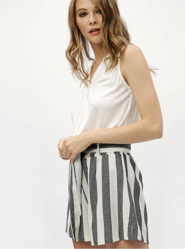 Bílo-černé pruhované kraťasy s vysokým pasem Haily´s Alina