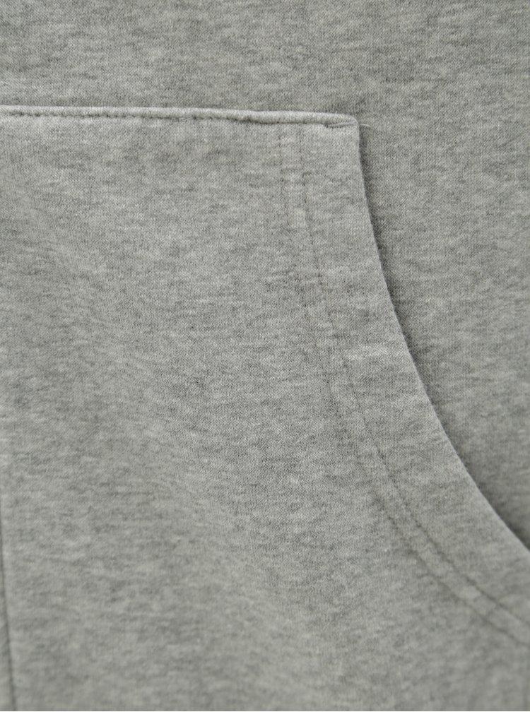 Šedá pánská žíhaná mikina s kapucí Converse Core Full-Zip Hoodie