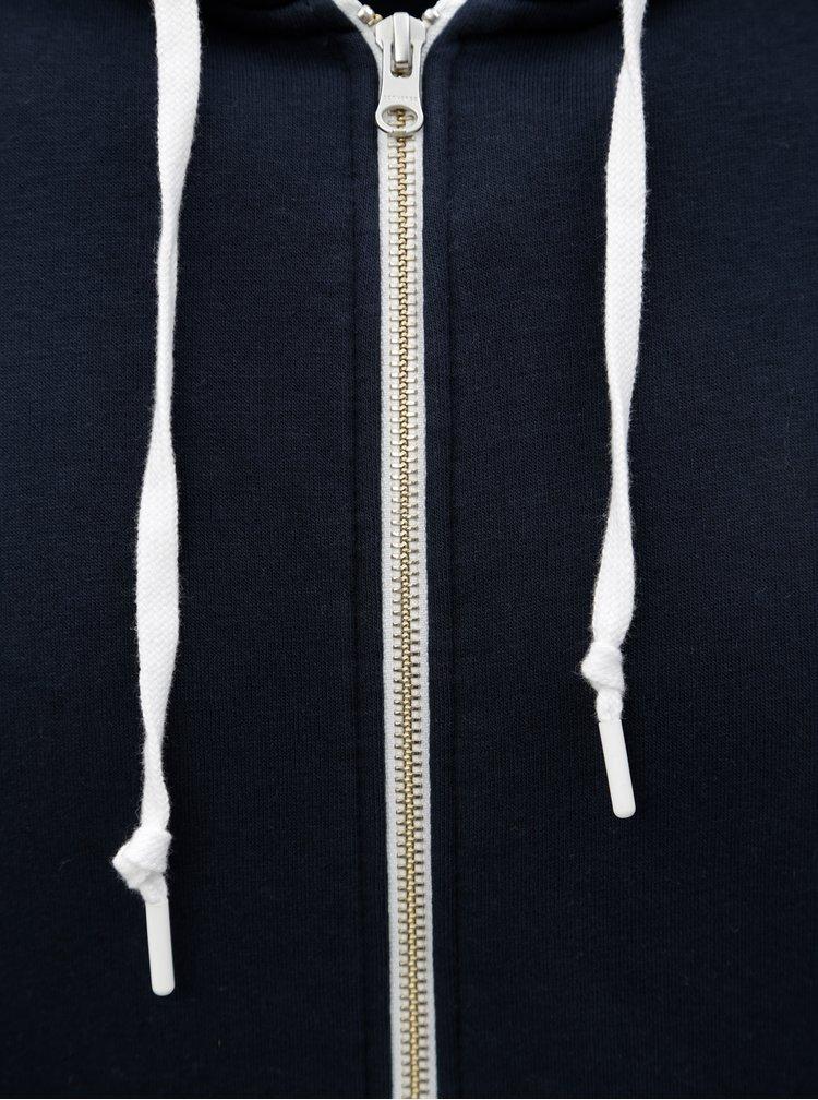 Modrá pánská mikina s kapucí Converse Core Full-Zip Hoodie
