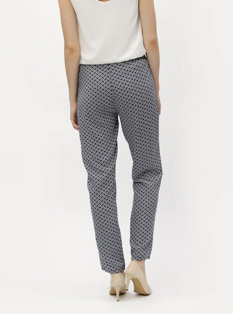 Bílo-modré vzorované kalhoty s gumou v pase Haily´s Ricky