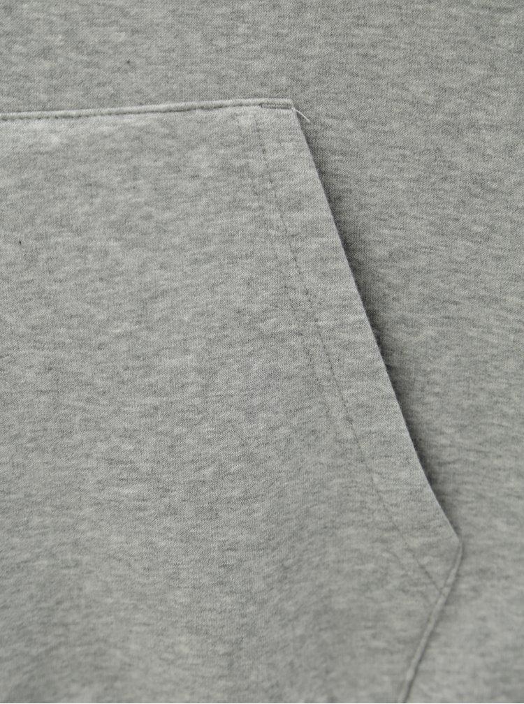 Šedá pánská žíhaná mikina s kapucí Converse Chuck Patch Graphic Pullover Hoodie