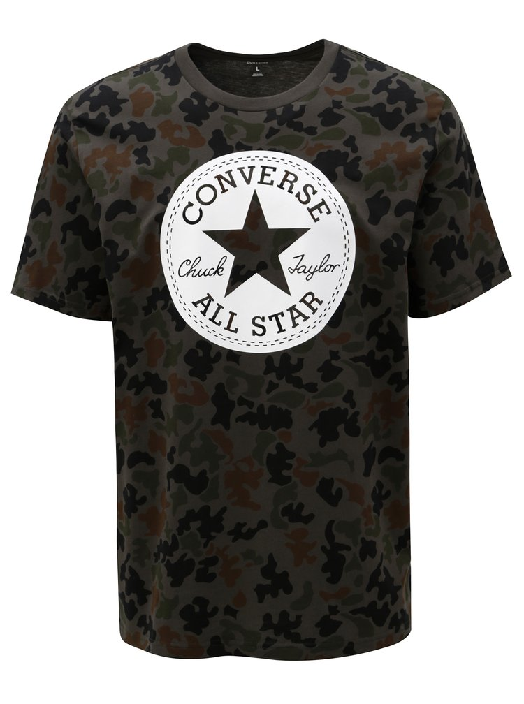 Khaki pánské maskáčové tričko s potiskem Converse Converse Chuck Patch Camo