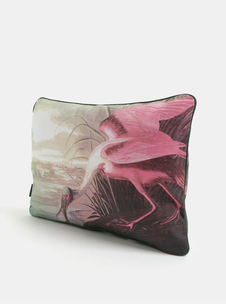 Bílo-růžový polštář s potiskem Magpie Heron