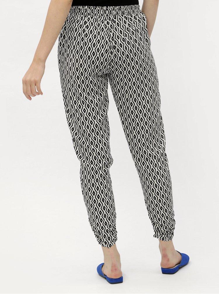 Bílo-černé vzorované volné kalhoty Haily´s Romy