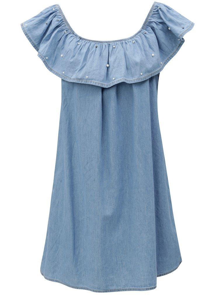 Modré džínové minišaty s lodičkovým výstřihem Haily´s Parina