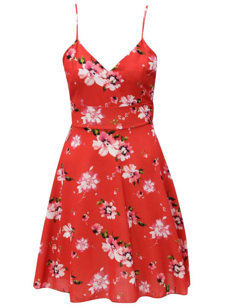 Rochie rosie cu model floral si snur in talie Haily´s Amelia