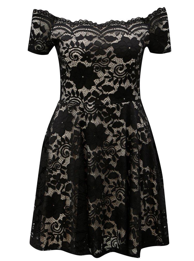 Černé krajkové šaty s odhalenými rameny Haily´s Ronja