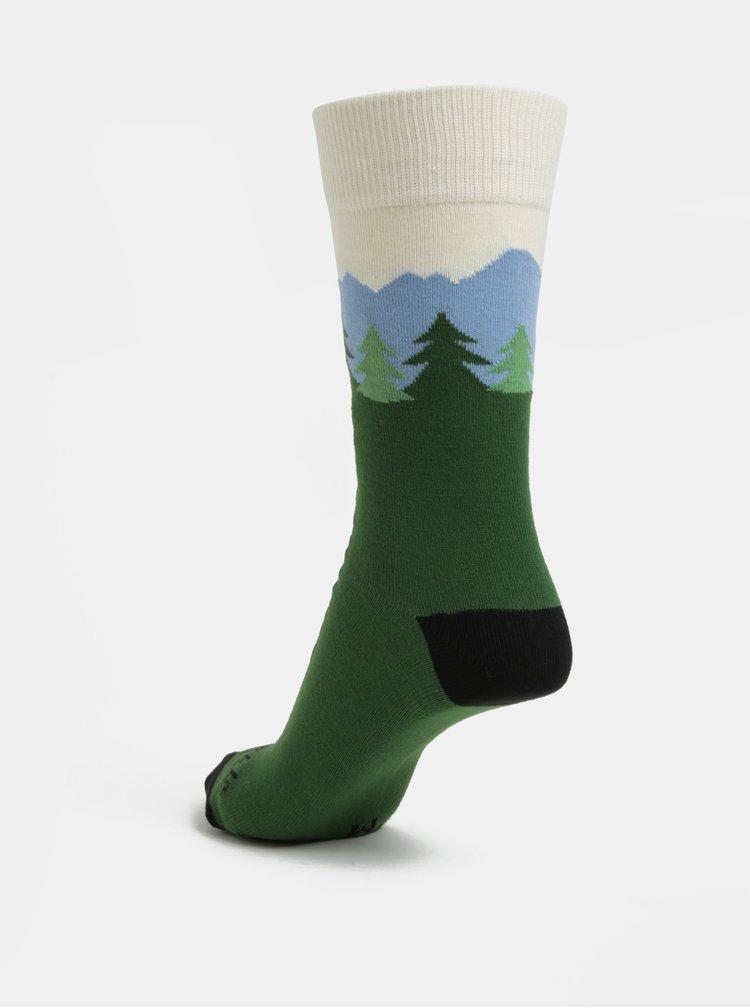 Zelené unisex ponožky s motivem Tater Fusakle Hrebienok