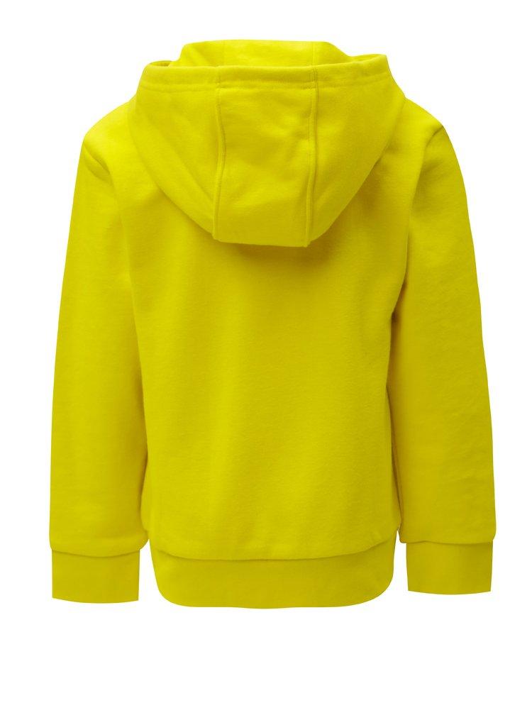 Žlutá dětská mikina s kapucí a klokaní kapsou adidas Originals Trefoil
