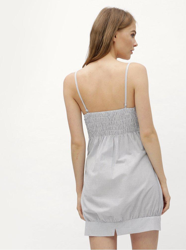 Světle modré pruhované balonové šaty na ramínka Haily´s Elfride