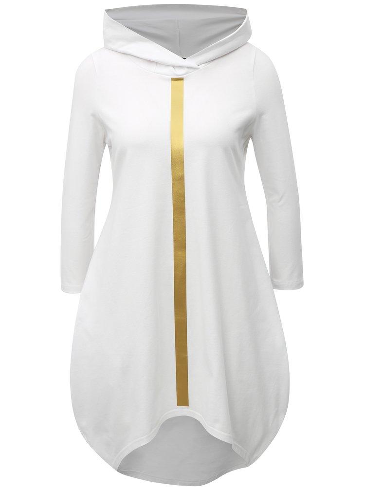 Bílé balónové šaty s potiskem a kapucí  Mikela da Luka