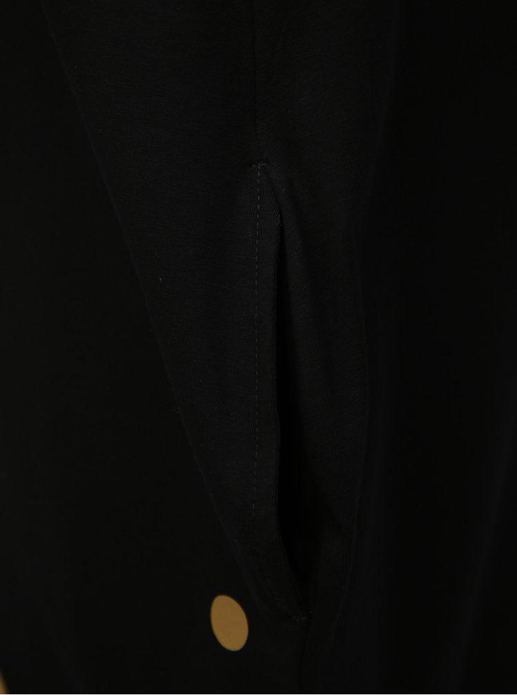 Černé balónové šaty s potiskem puntíků ve zlaté barvě Mikela da Luka