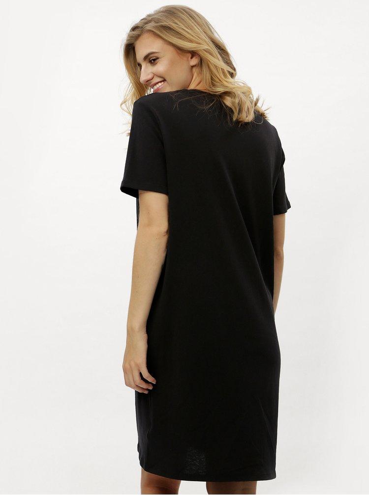 Černé tričkové šaty s krátkým rukávem Calvin Klein Jeans