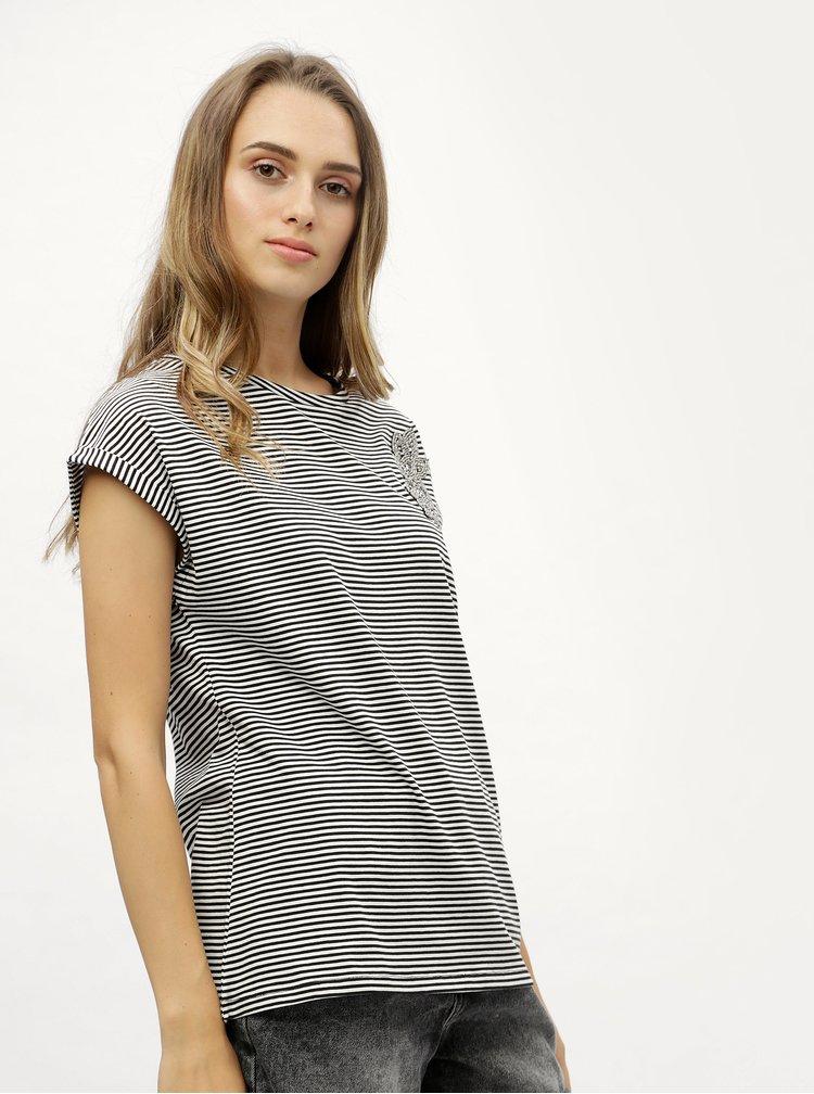 Černo-bílé pruhované tričko s korálkovou aplikací Dorothy Perkins