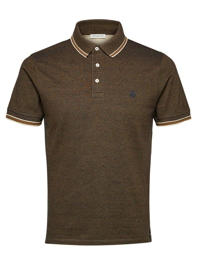 Hnědé žíhané polo tričko Selected Homme Twist