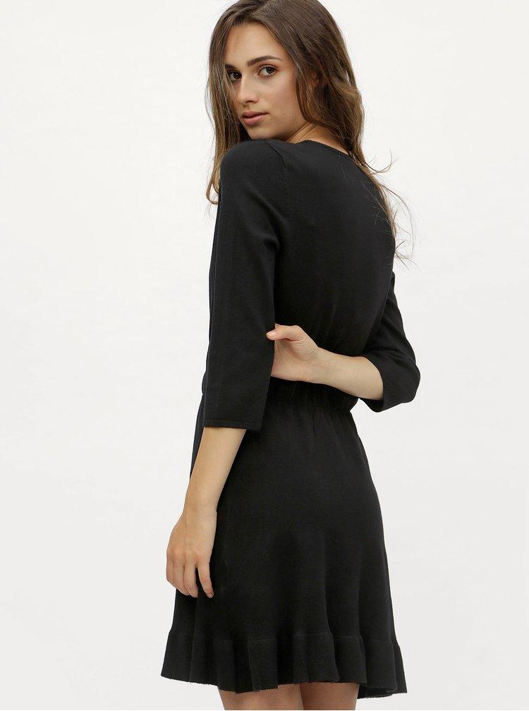 Černé svetrové šaty s překládaným výstřihem ONLY Elsa