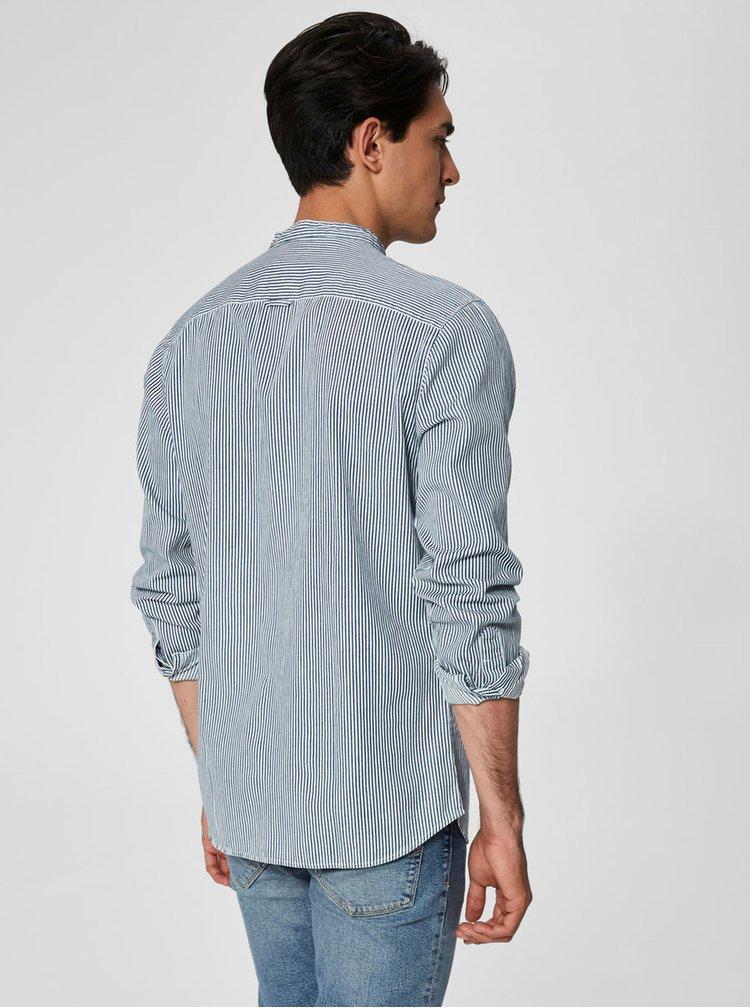 Bielo-modrá pruhovaná slim fit košeľa Selected Nolan