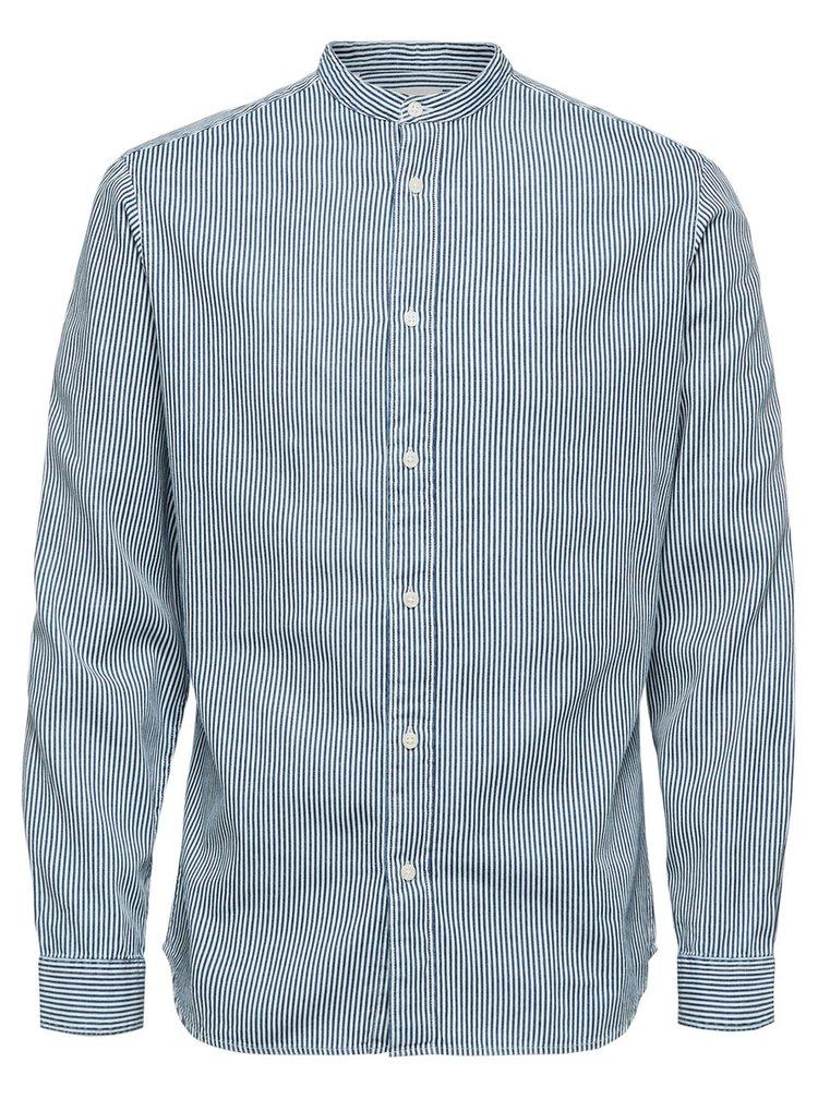 Bílo-modrá pruhovaná slim fit košile Selected Nolan