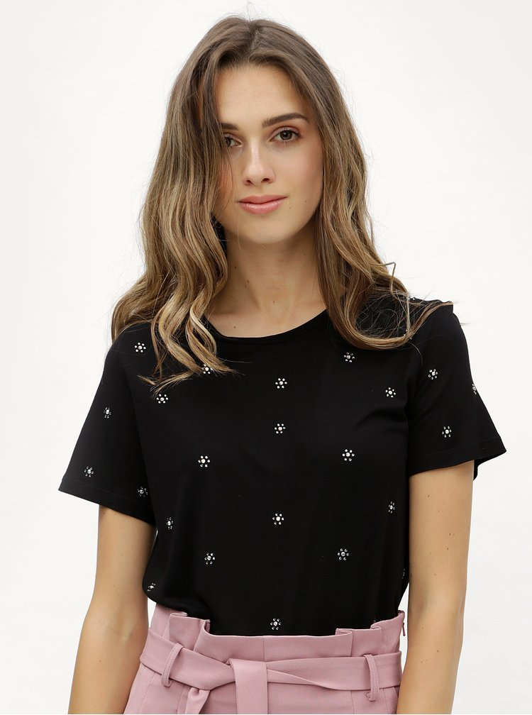 Černé tričko s kamínkovými aplikacemi Dorothy Perkins