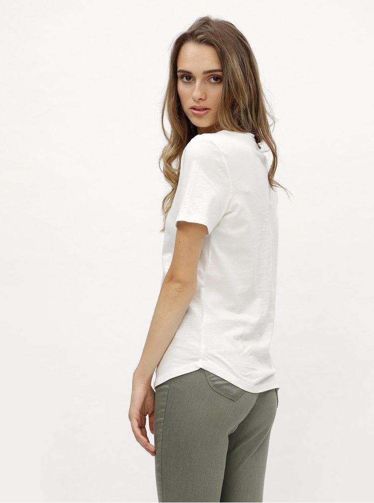 Bílé tričko s detaily ve zlaté barvě Dorothy Perkins
