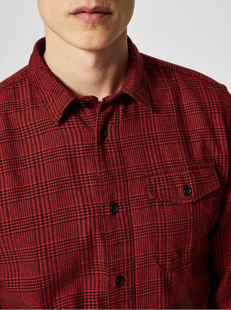 Černo-červená kostkovaná regular fit košile Selected Regval demar