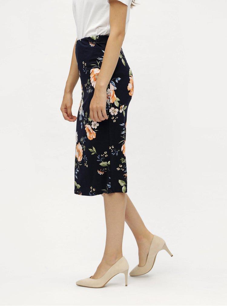 Fusta teaca albastru inchis cu model floral Dorothy Perkins