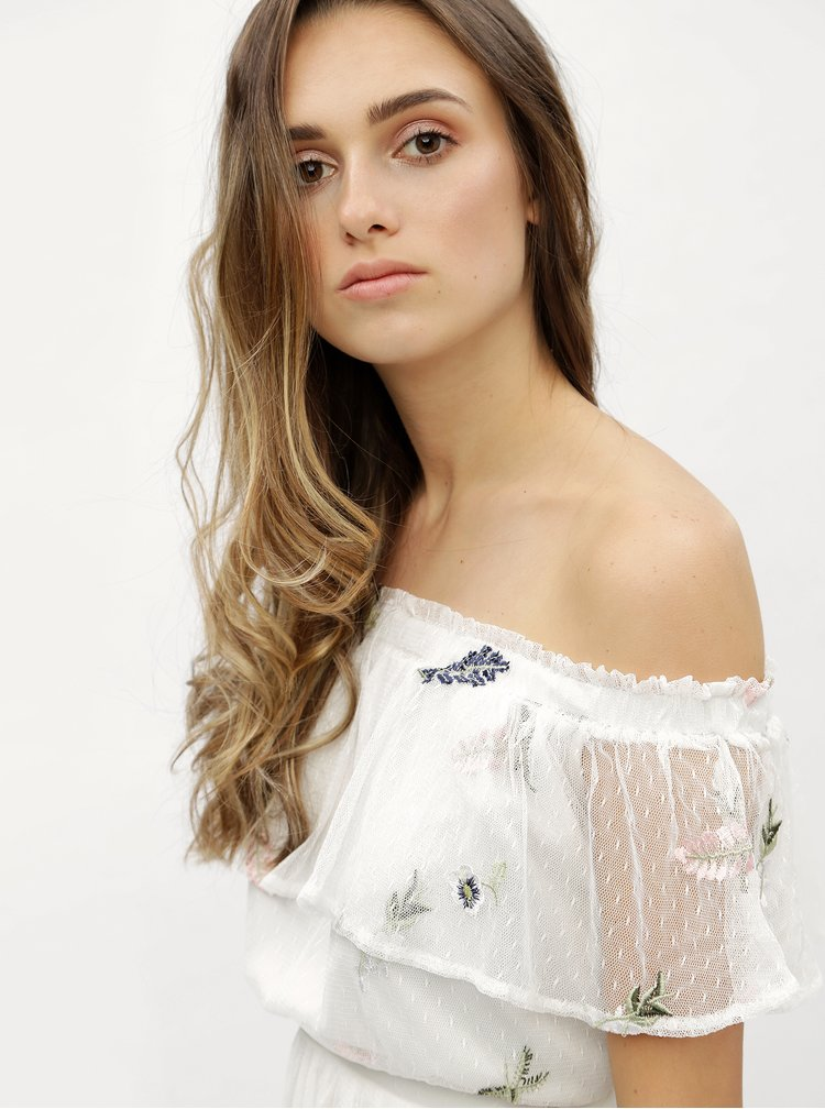 Rochie maxi alba cu model floral si decolteu pe umeri Dorothy Perkins