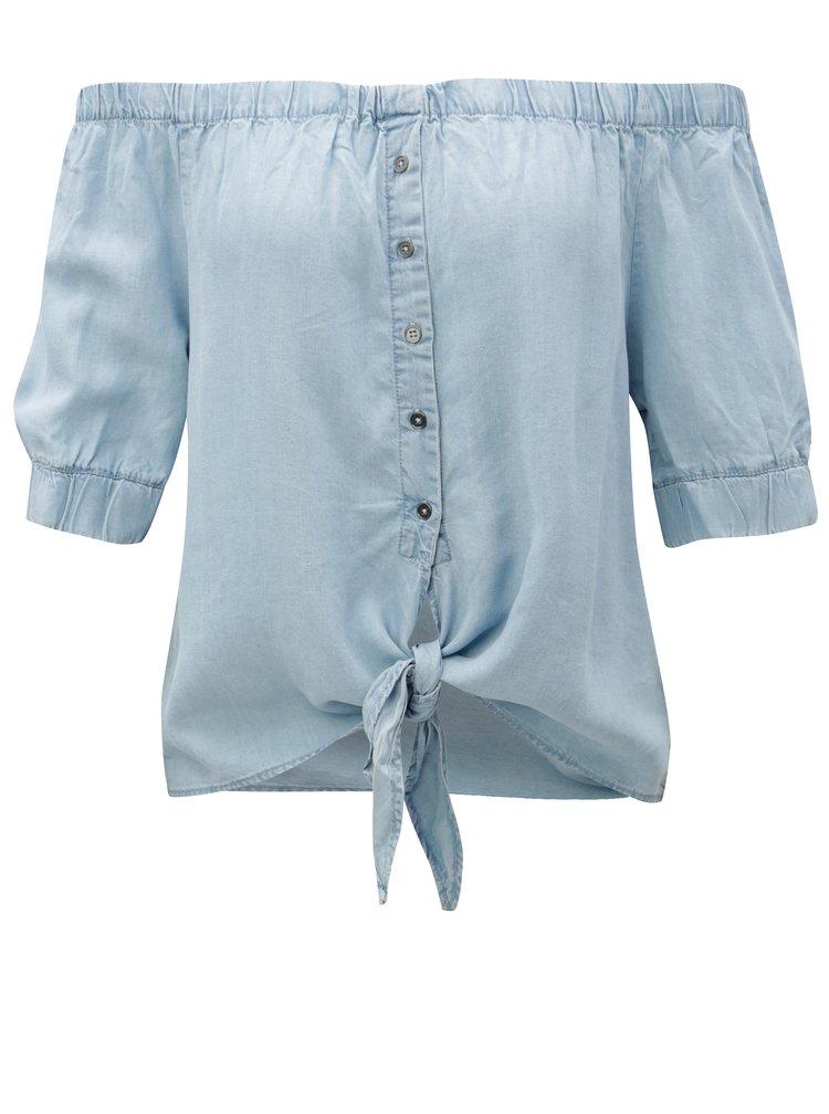 Světle modrý top s odhalenými rameny a zavazováním Noisy May