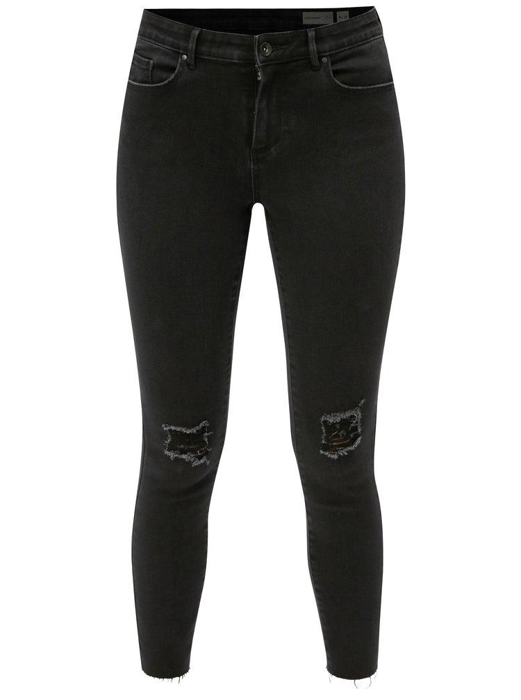 Černé zkrácené skinny džíny s potrhaným efektem VERO MODA Teresa