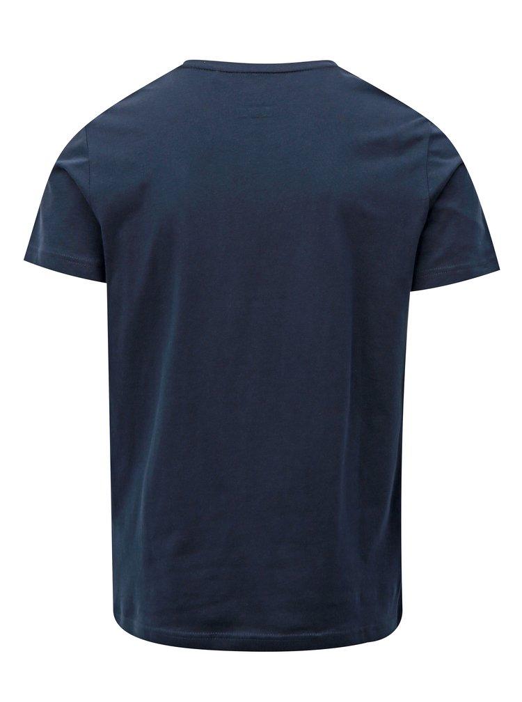 Tricou barbatesc albastru slim fit cu print s.Oliver