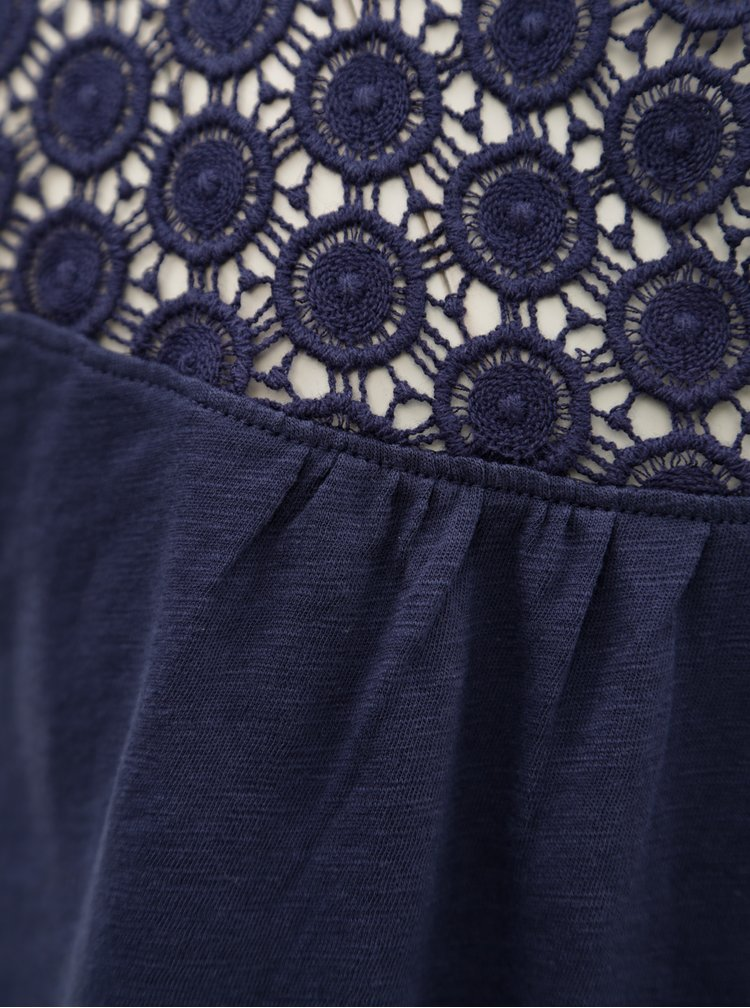 Bluza de dama albastru inchis cu dantela s.Oliver