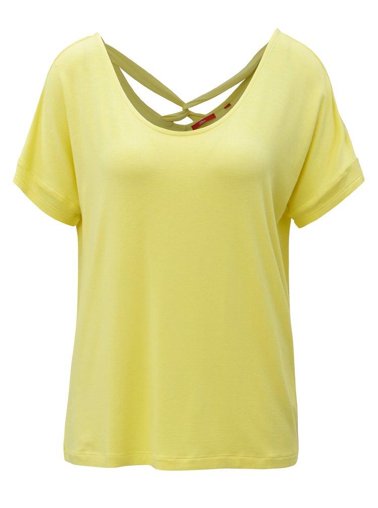 Žluté dámské oversize tričko s pásky na zádech s.Oliver