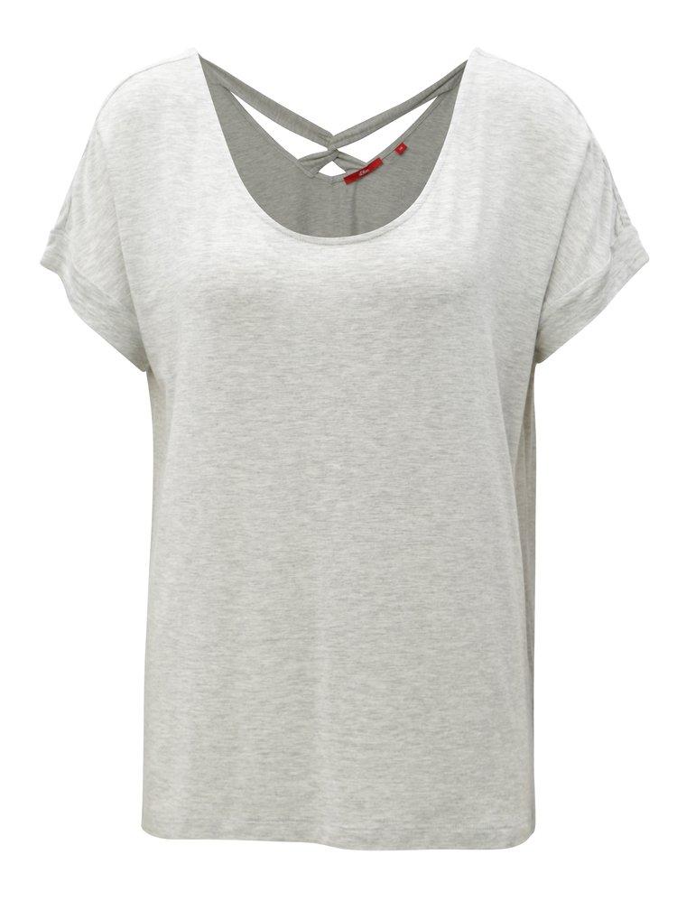 Světle šedé dámské volné tričko s pásky na zádech s.Oliver