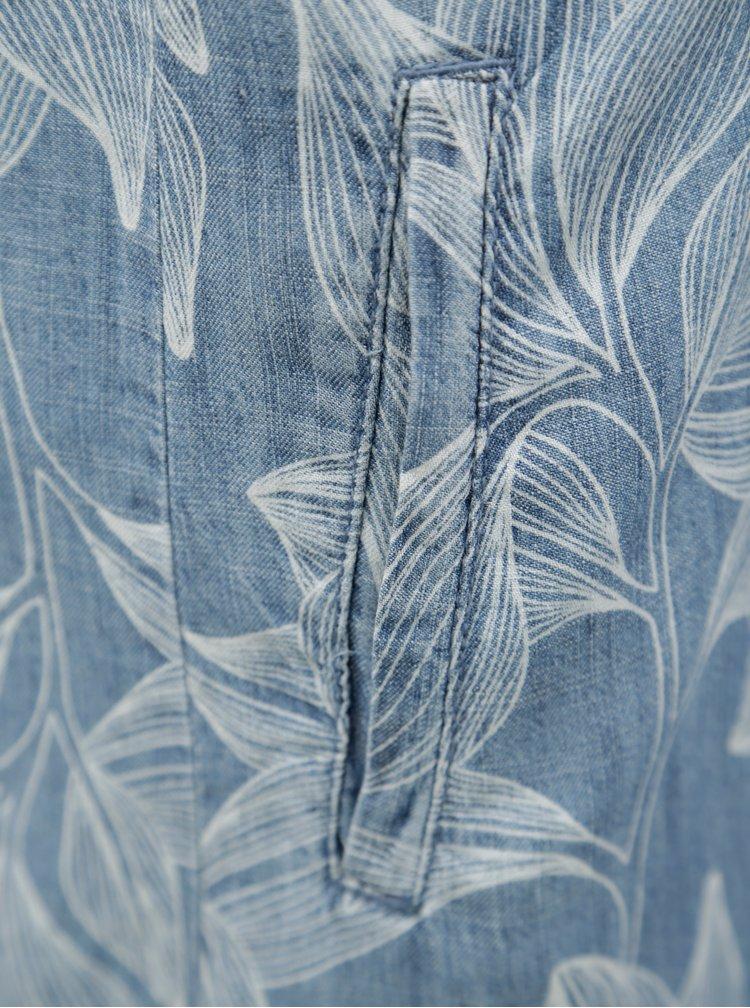 Modré vzorované šaty s příměsí lnu s.Oliver