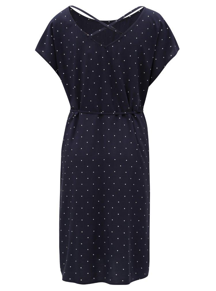 Tmavě modré puntíkované šaty s pásky na zádech s.Oliver