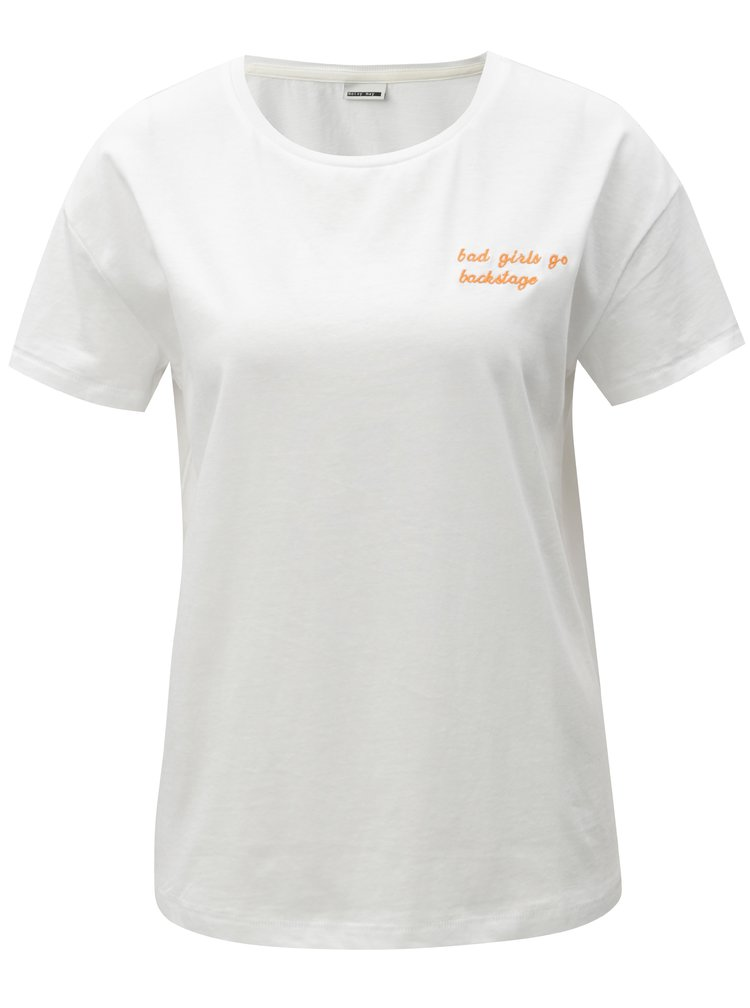 Bílé tričko s výšivkou Noisy May Alfred