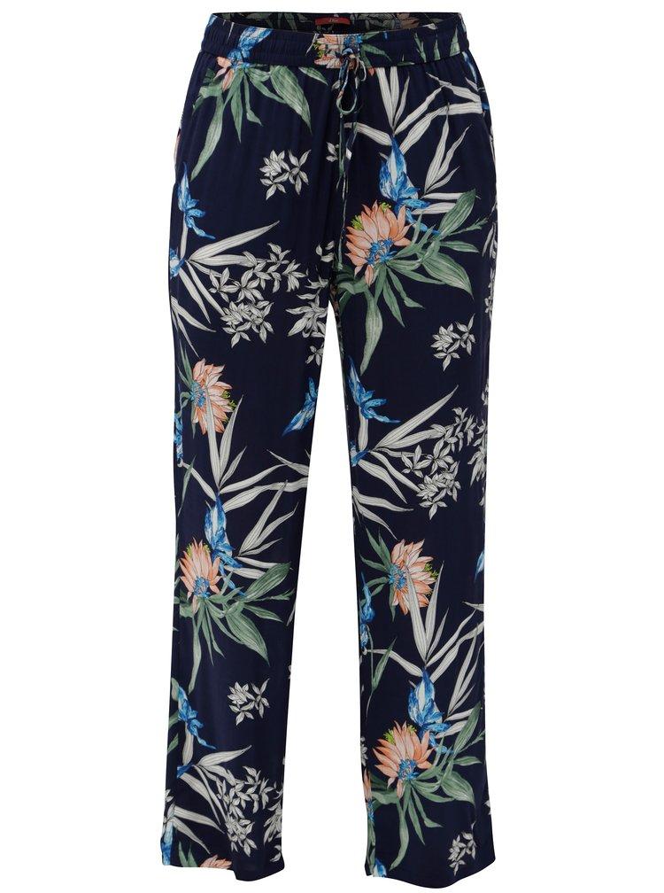 Tmavě modré dámské květované kalhoty s.Oliver
