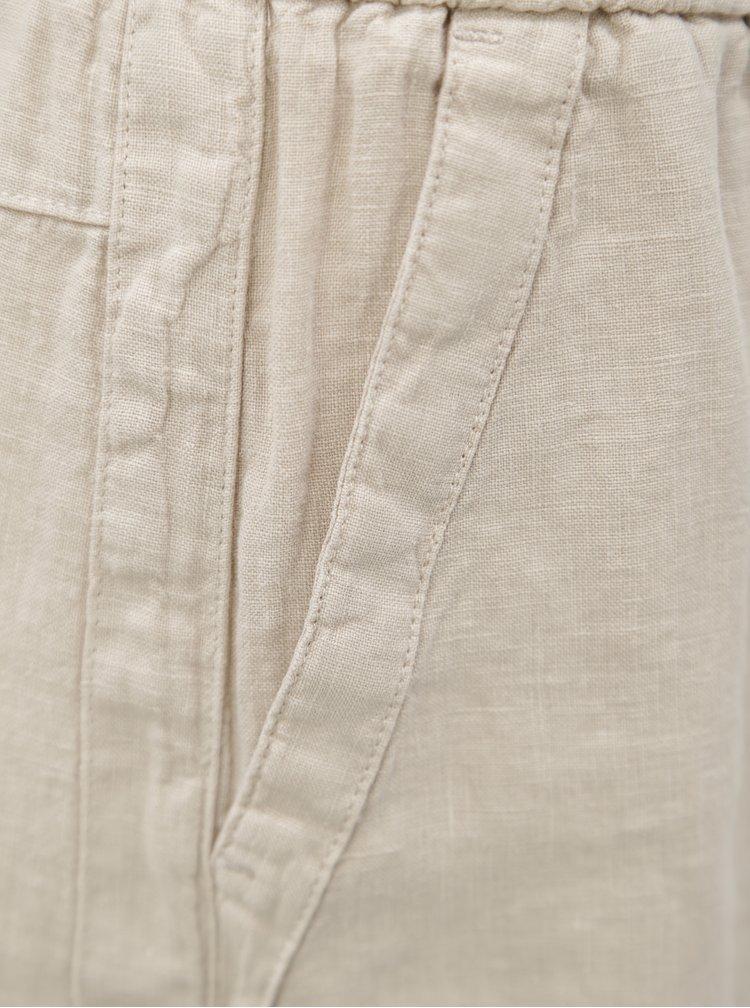 Béžová lněná sukně s kapsami s.Oliver