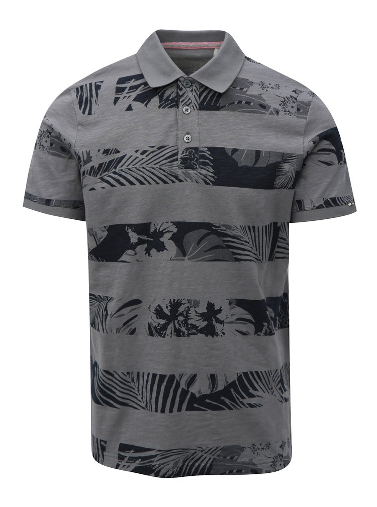Černo-šedé pánské slim fit polo tričko s.Oliver