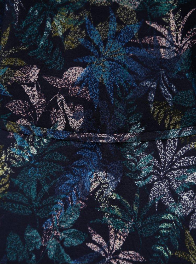 Modré vzorované šaty s páskem a průstřihy na rukávech s.Oliver