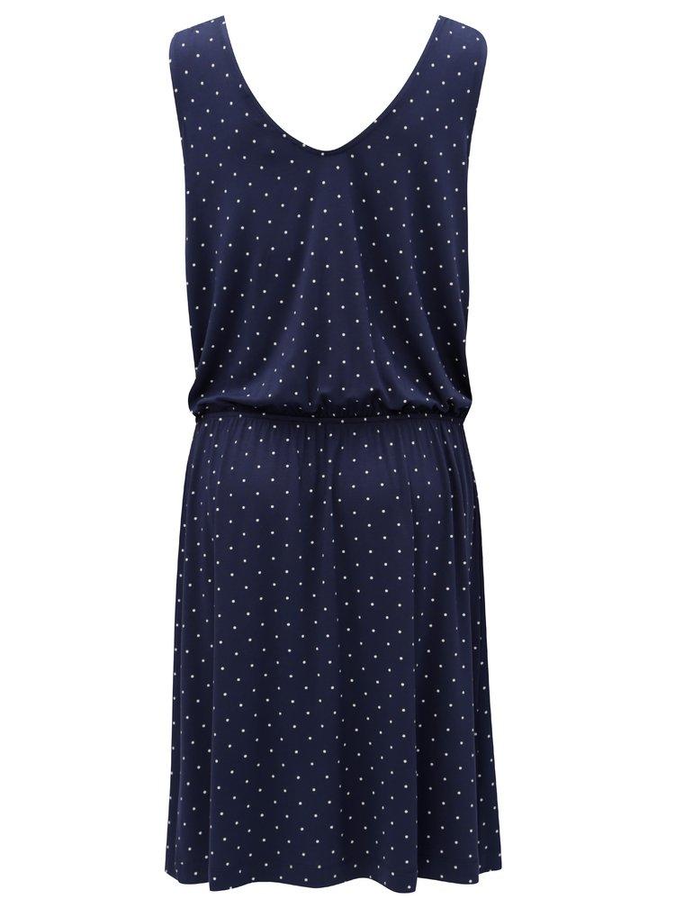 Modré vzorované šaty s elastickým pasem s.Oliver