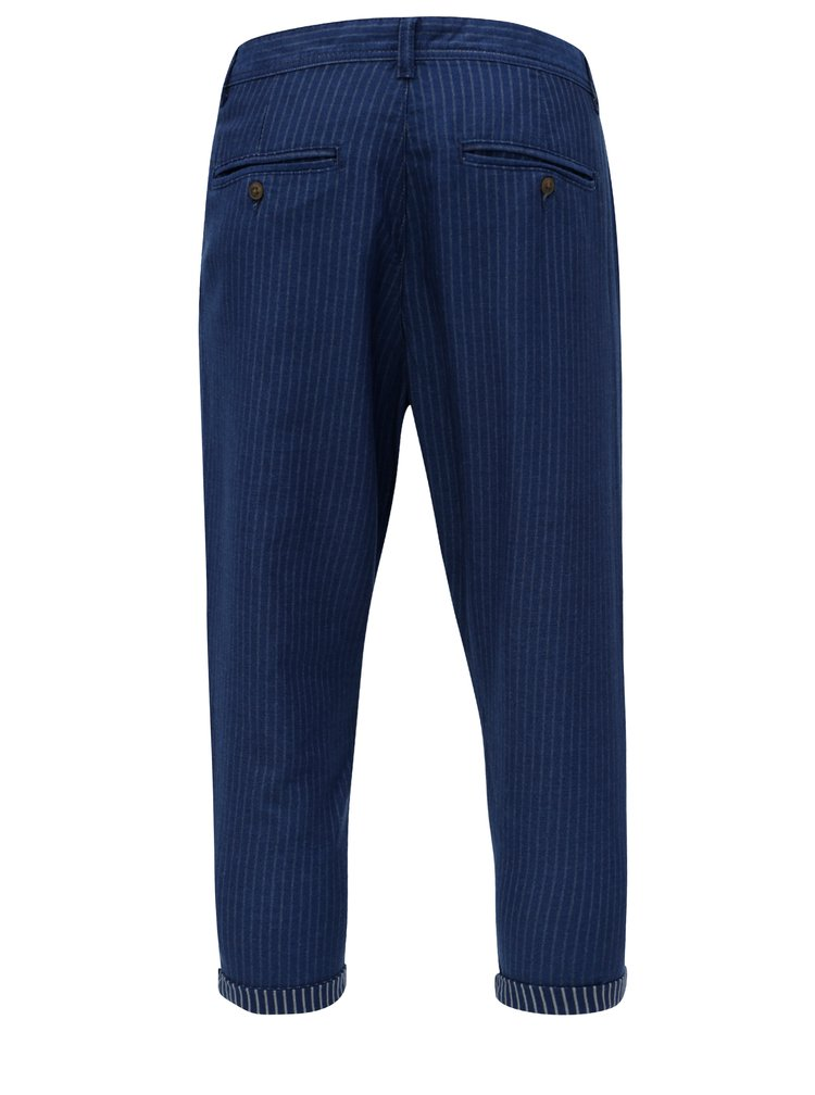 Pantaloni crop albastru inchis in dungi ONLY & SONS Beam