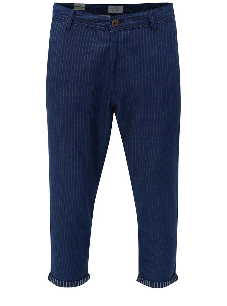 Tmavě modré pruhované zkrácené kalhoty ONLY & SONS Beam