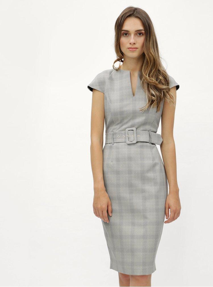 Šedé kostkované pouzdrové šaty s páskem Dorothy Perkins