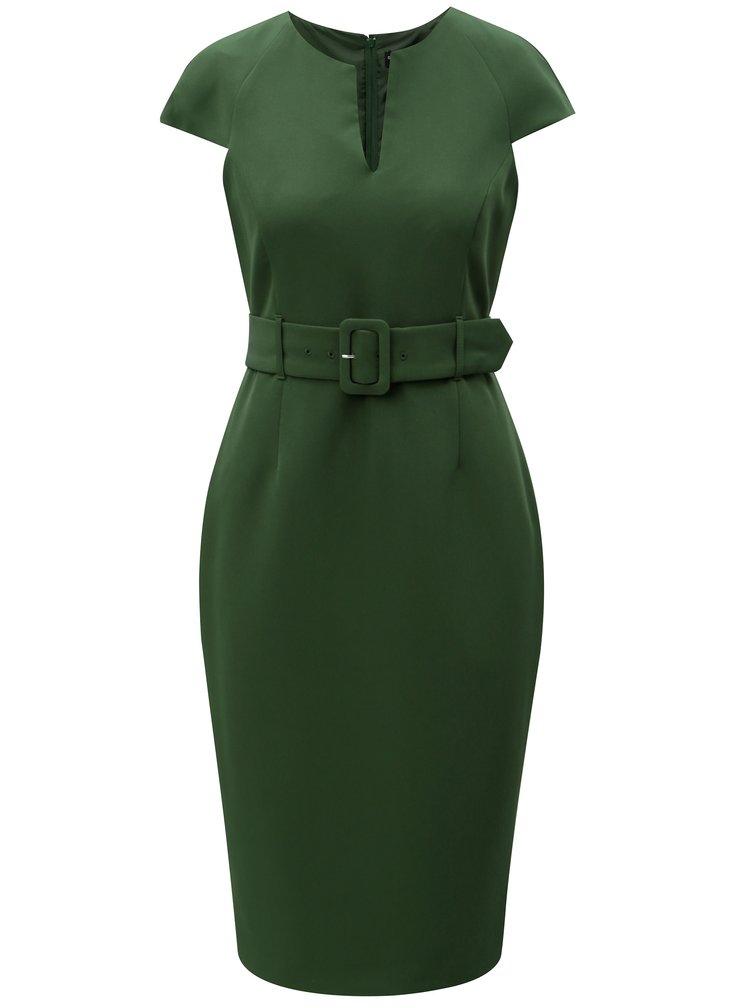 Zelené pouzdrové šaty s páskem Dorothy Perkins