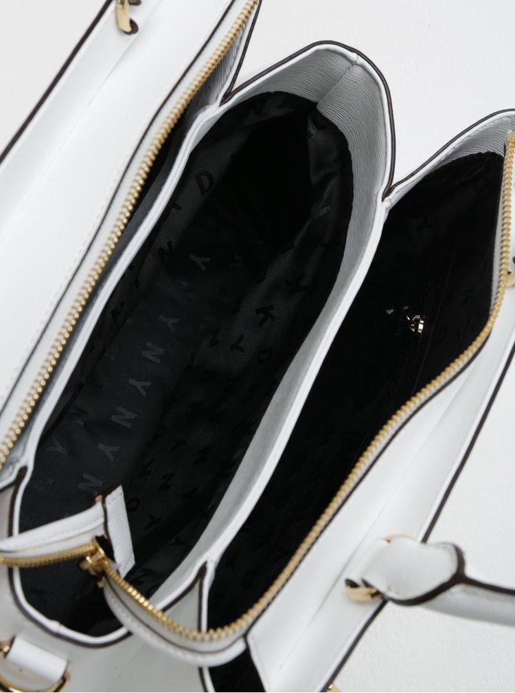 Bílá malá kožená kabelka s motivem motýlů DKNY