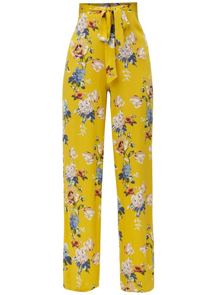 Žluté květované volné kalhoty s vysokým pasem a zavazováním Dorothy Perkins Tall