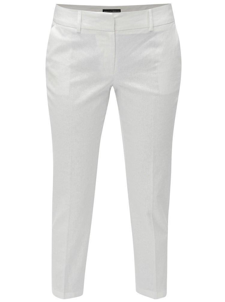 Bílé zkrácené lněné kalhoty s puky Dorothy Perkins