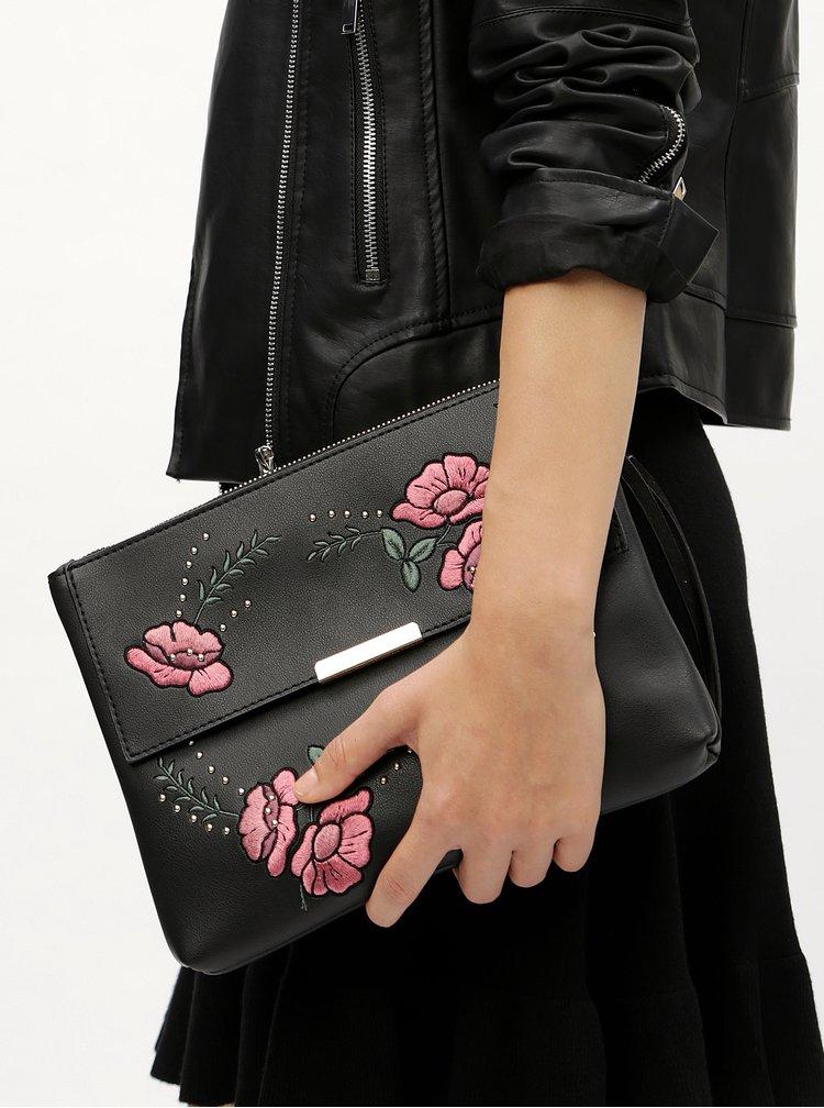 Černá crossbody kabelka s květovanou výšivkou Dorothy Perkins