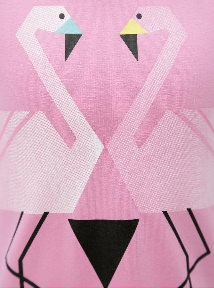 Modro-růžové holčičí šaty s motivem plameňáků tuc tuc Combined Braces